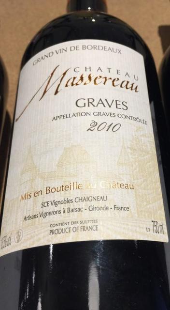 Château Massereau Graves Red Bordeaux Blend 2010