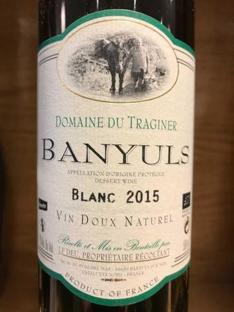Domaine du Traginer Vin Doux Naturel Banyuls Blanc Grenache Blanc 2015 (500ml)