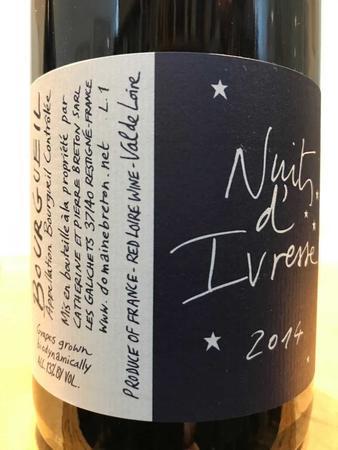 Catherine et Pierre Breton Nuits d'Ivresse Bourgueil Cabernet Franc 2014