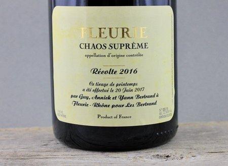 Yann Bertrand Chaos Supreme Fleurie Gamay  2016 (1500ml)