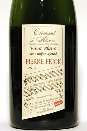 Pierre Frick Vin Biologique Zéro Sulfite Ajouté Alsace AOC Pinot Blanc 2015