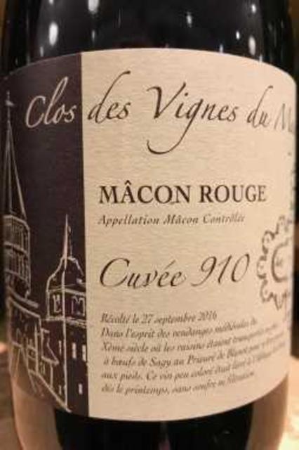 Domaine Des Vignes du Maynes (Julien Guillot) Cuvée 910 Clos des Vignes du Maynes Mâcon-Cruzille Pinot Noir 2016
