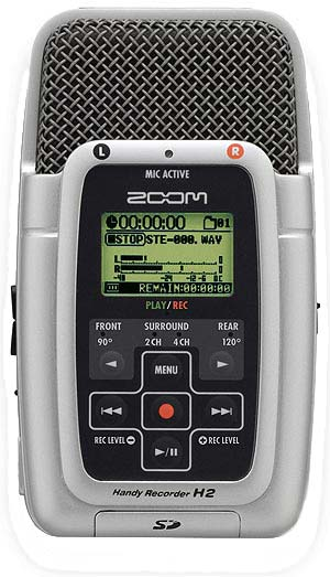 Zoom H2 sound recorder front panel.