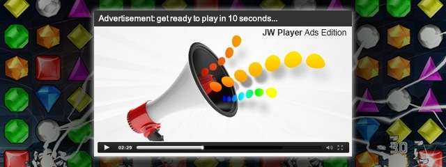 JW Player ad over a game