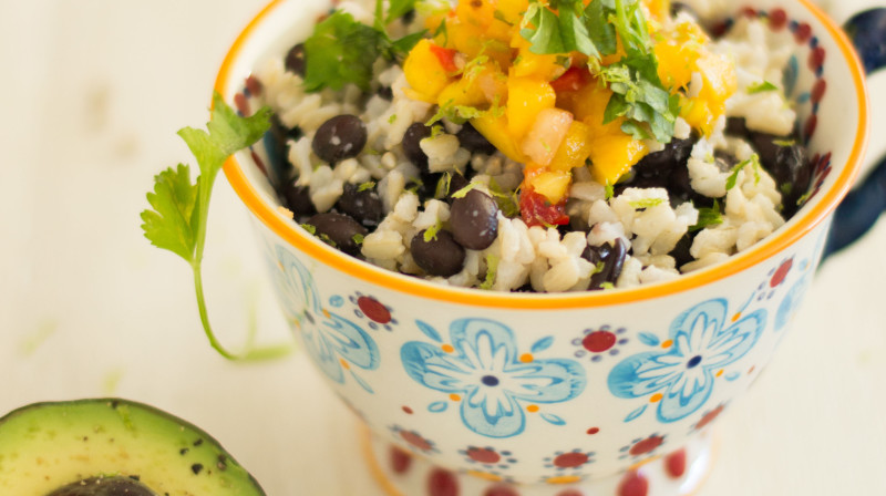 Black Bean Burrito Bowl with Fresh Mango Salsa