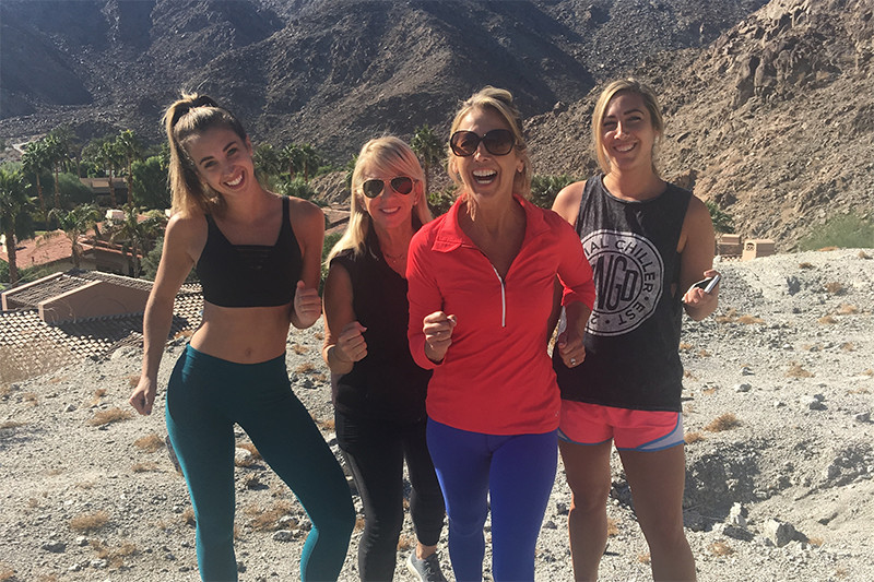 Denise Austin On Hike With Daughters and Friend, thanksgiving 2016