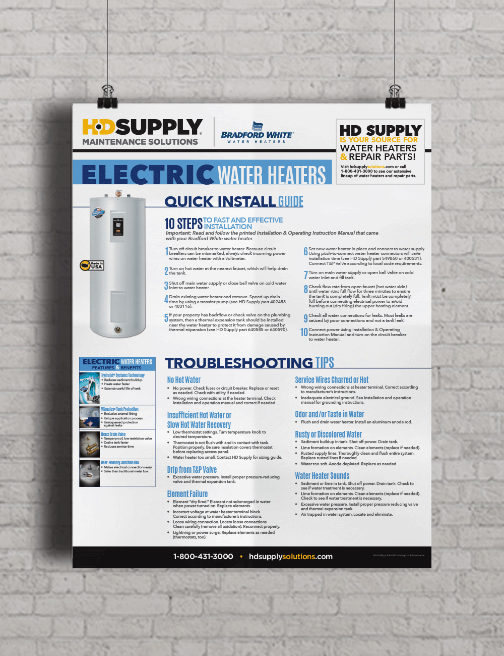 Bradford White Electric Water Heater info poster