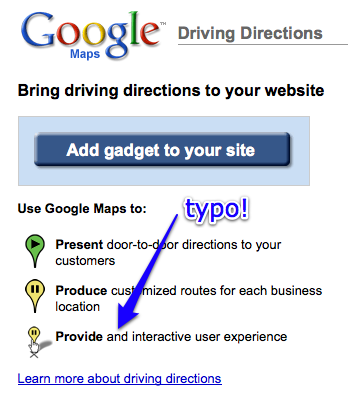 Google Maps Driving Directions Typo