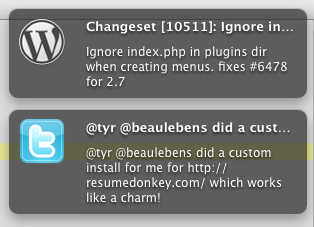Custom icons for a WordPress feed, and a Twitter search.