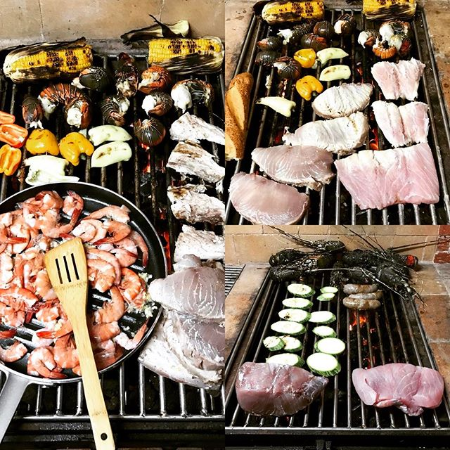 Tonight's grilled dinner was pretty absurd. Also delicious. #tuna #lobster #shrimp #peppers #corn #grill #seafood