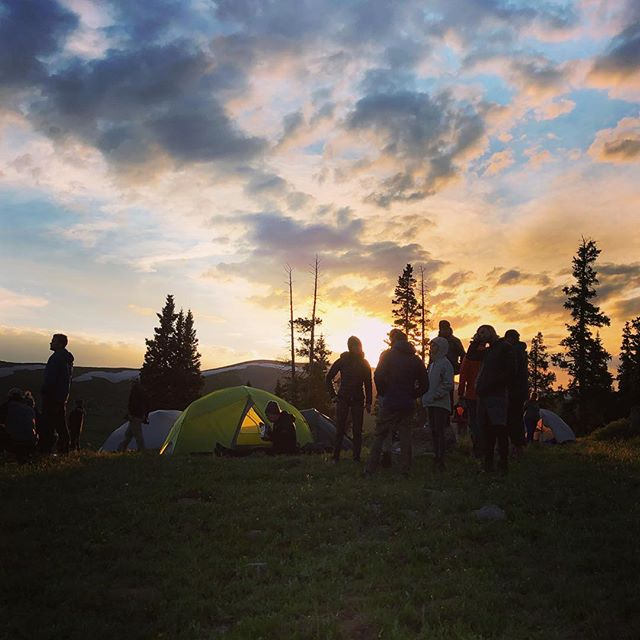 After a long second day on the trail; relaxing with old friends and new. #fjallravenclassicusa #sunset #alpine #coloradorockies