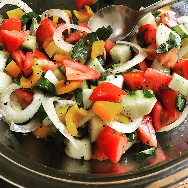 Salad using cucumber, tomato and basil from the garden (also yellow sweet peppers and onions). Salt, pepper, olive oil and rice vinegar for taste. #frommygarden