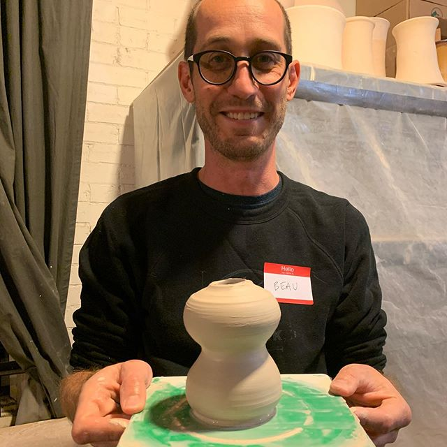 I made a weird looking vase thing last night at my first pottery class with @akires. Surprisingly fun, and I'm looking forward to making some real stuff in the coming weeks (this was 100% just experimenting with how clay/pulling works)