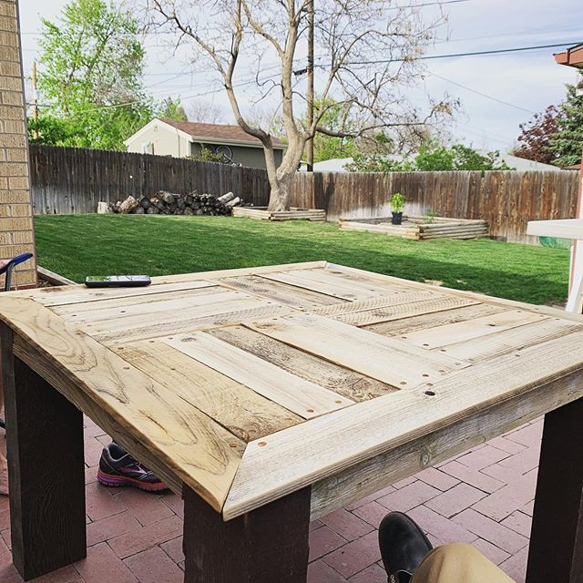 """My first commissioned """"piece"""". Made this table for @melbrace303 today from reclaimed fence and pergola wood."""