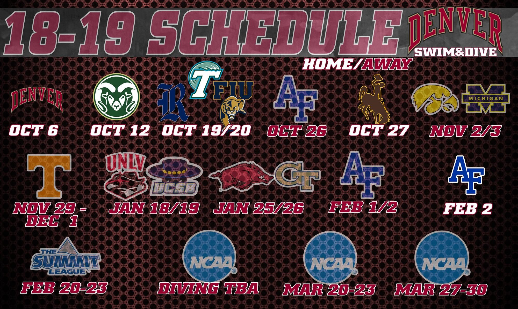 2018-19 Men's and Women's Swimming and Diving Schedules