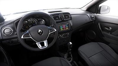 Renault Symbol, Un interior Renovado Cinco amplios asientos y capacidad extragrande del maletero para acomodar a todos tus pasajeros, terminaciones impecables, compartimentos de almacenamiento más prácticos e inteligentes, etc. El interior del Renault SYMBOL está aún más optimizado. Te sentirás en casa al instante.