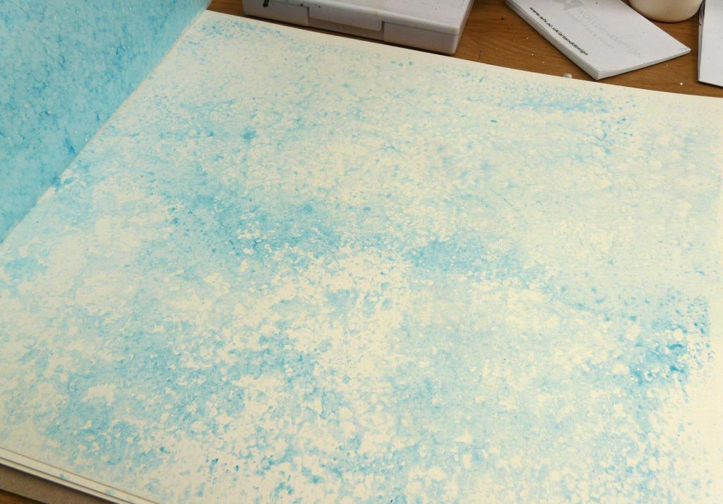 Inktense Block on polystyrene packaging stamped on watercolour paper