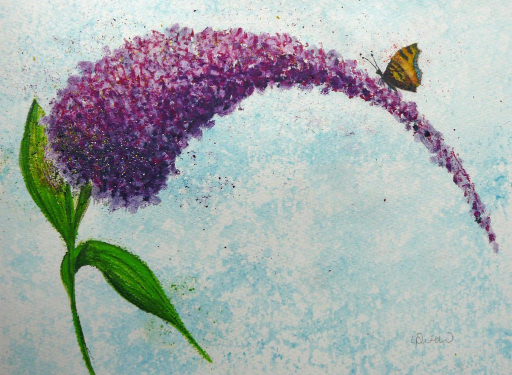 Final image: Buddleia with Butterfly created using Inktense Blocks on watercolour paper