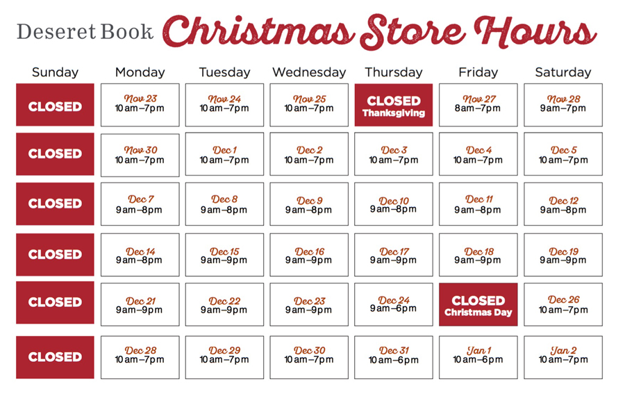 Deseret Book Holiday Store Hours