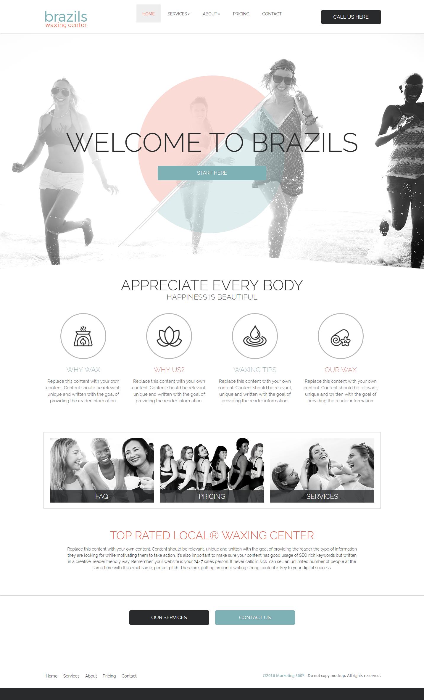 waxing studio website design