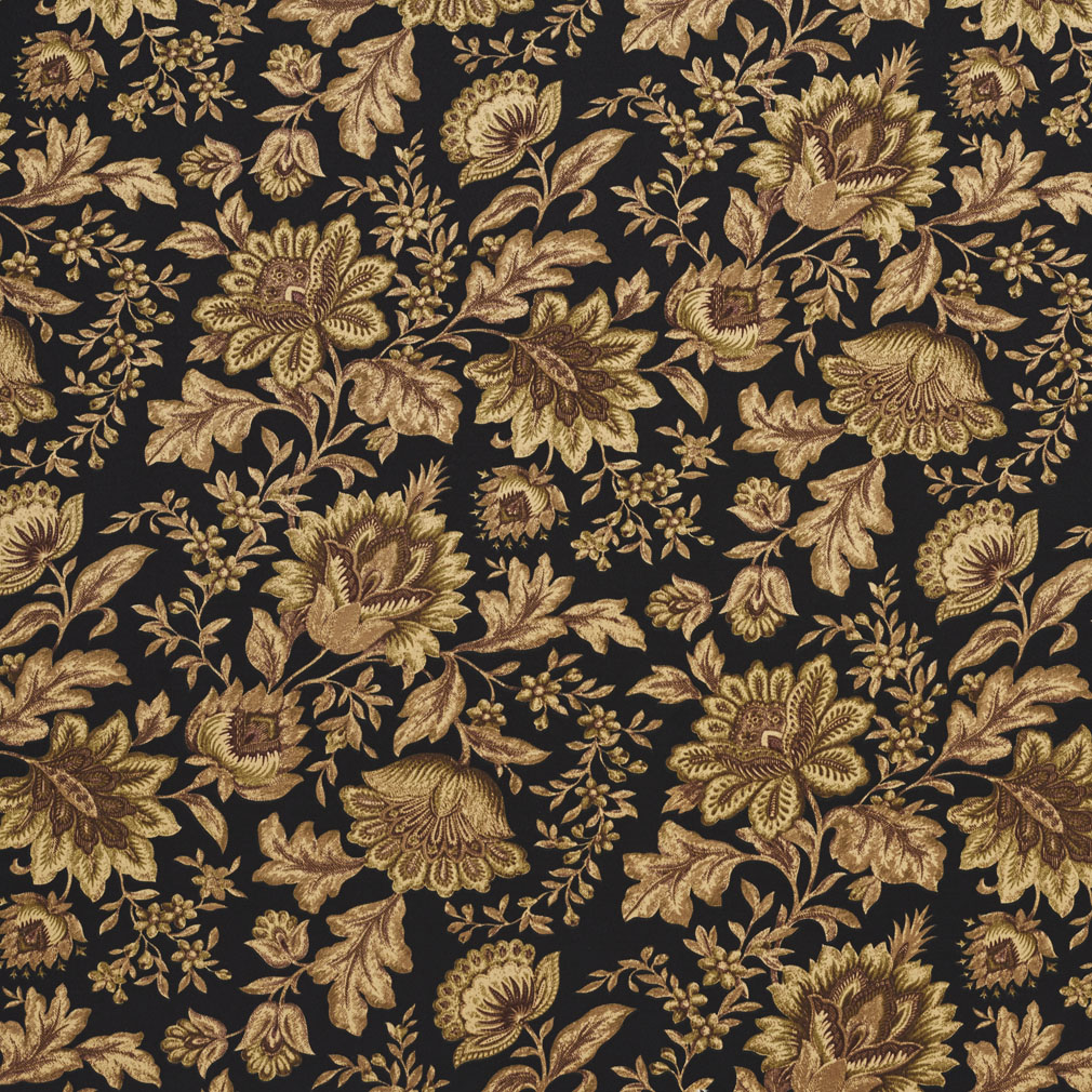 c433 black green brown floral outdoor indoor upholstery fabric by the yard ebay. Black Bedroom Furniture Sets. Home Design Ideas