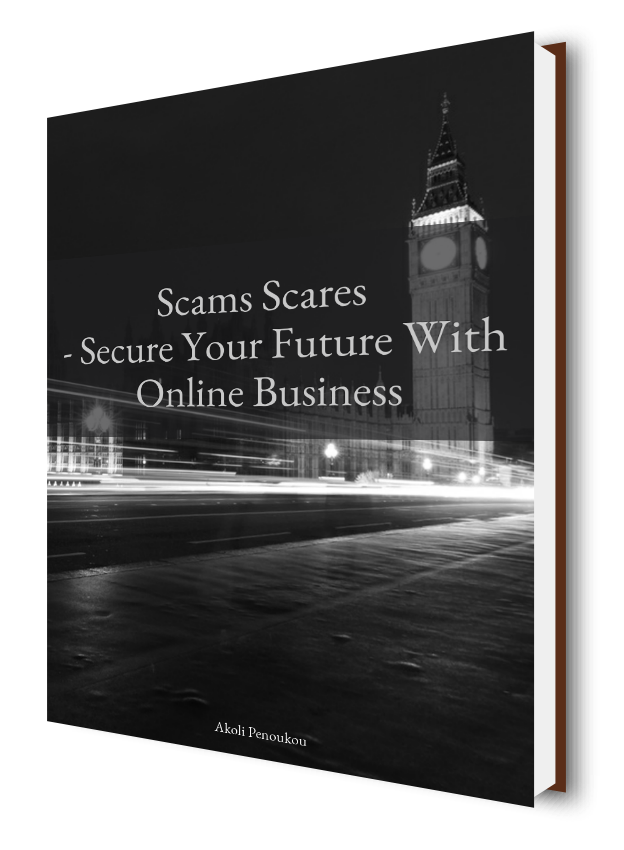 A dark eBook cover with the London Tower bearing the Big Ben bearing the inscription Scams scares