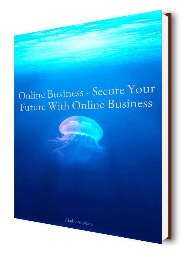 A deep blue eBook cover below and bright green above with the inscription Online business