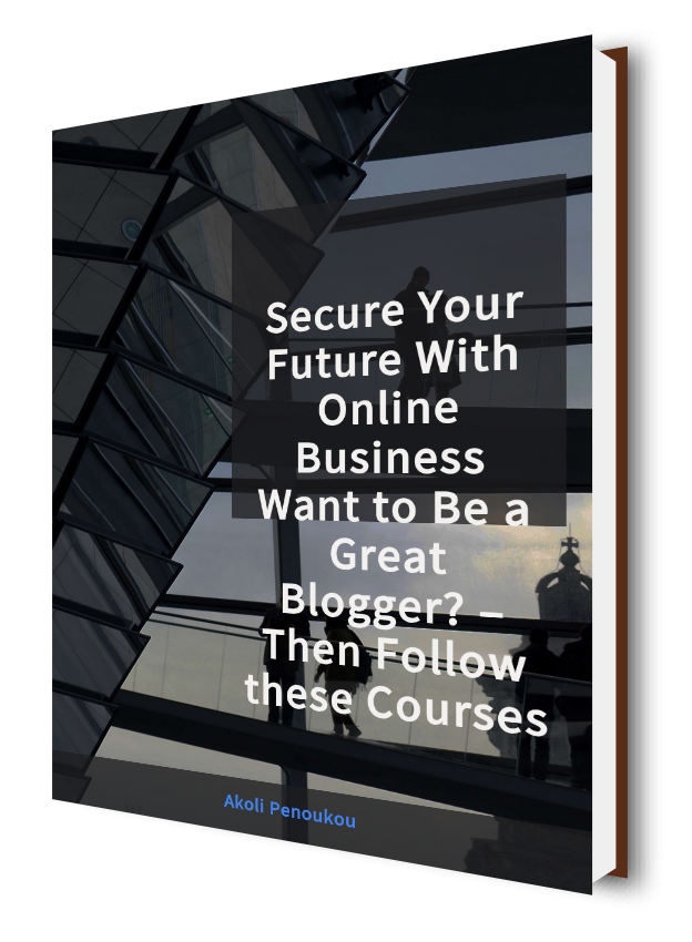 A dark eBook cover showing some stairs and bearing the inscription Online business - Want to be a great blogger? Then follow these courses