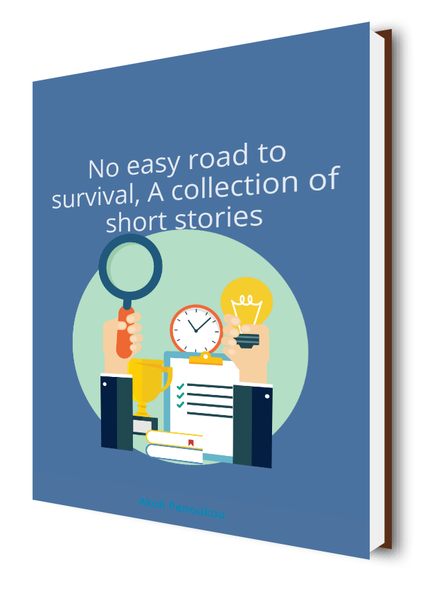 A light blue eBook cover with a light blue circle in which are objects like a magnifying glass, clock, etc. and bearing the title No easy road to survival, A collection of short stories