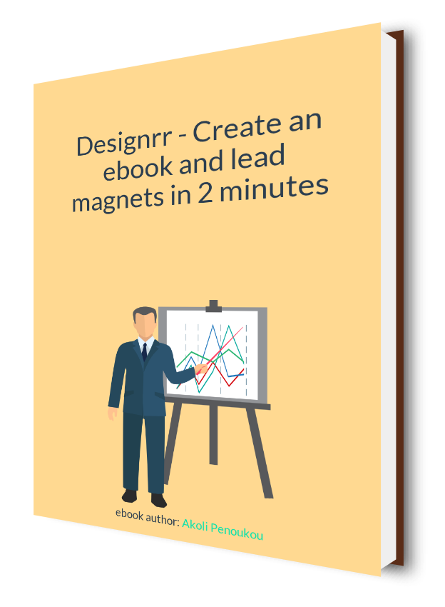 An ebook cover showing a man in front of a board with a chart against a yellowish background as What Designrr, the EBook Design Tool, offers EBook Creators