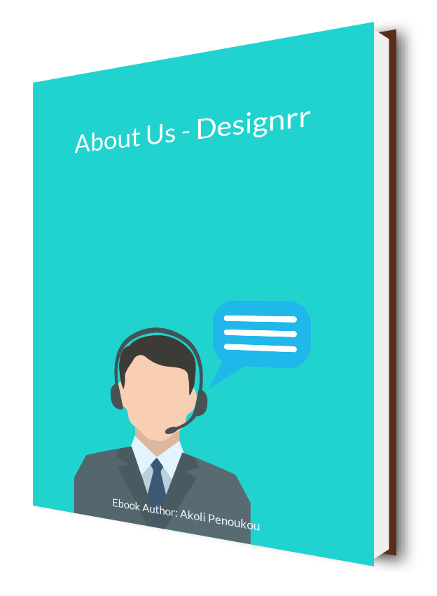 A light blue eBook cover showing a call agent and bearing the inscription About us - Designrr