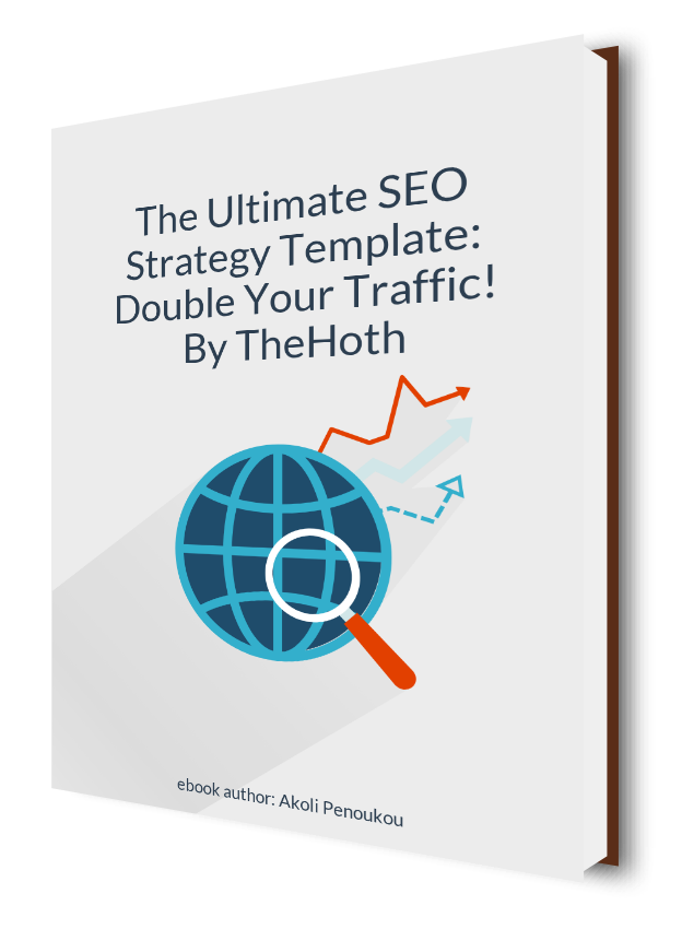 A greyish eBook cover with a magnifying glass on a globe and bearing the inscription The ultimate SEO strategy template