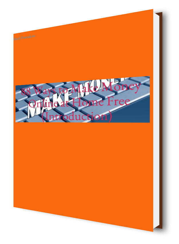 EBook cover of 88ways to make money onlneat home free introduction