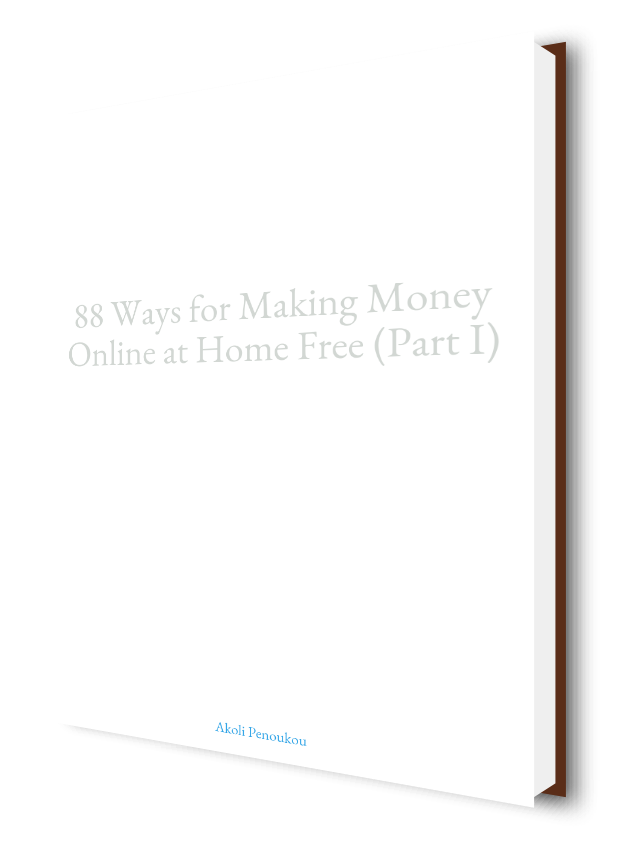 A plain eBook cover with the inscription 88 ways to make money, Part I