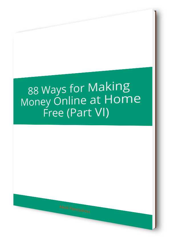 A plain eBook cover with a middle green strip with the inscription 88 ways to make money, Part VI
