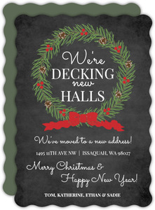 Chalkboard and Holly Wreath Moving Announcement