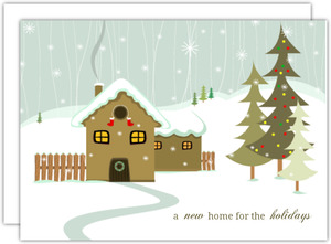 House Snow Scene Holiday Moving Announcement