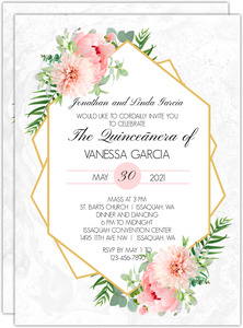 Flower Embellished Frame Quinceanera Invitation