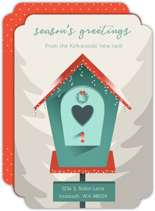 Winter Birdhouse Holiday Moving Announcement
