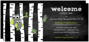 Green Owl Chalkboard Baby Shower Invitation