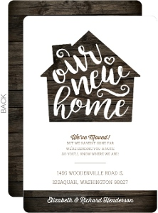 Rustic Wood House Moving Announcement