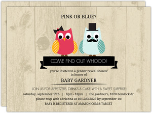 Woodgrain Gender Reveal Owl Baby Shower Invitation