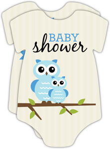 Striped Tan Blue Owl Baby Shower Invitation