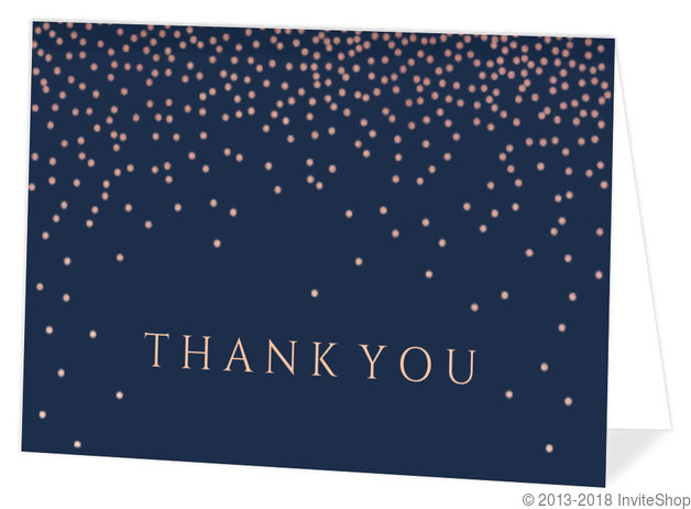 Pink Faux Foil Confetti Thank You Card Thank You Cards
