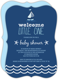 Nautical Navy Blue White Waves Baby Shower Invitation