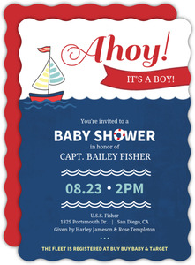 Red Navy Sailboat Baby Shower Invitation