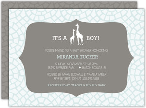 Pale Blue Giraffe Baby Shower Invitation