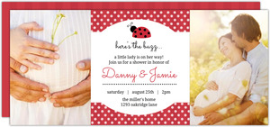 Photo Red Polkadot Ladybug Baby Shower Invitation
