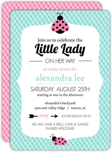 Teal Gingham and Pink Ladybug Baby Shower Invitation