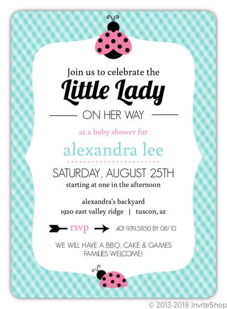 Teal gingham and pink ladybug baby shower invitation girl baby teal gingham pink ladybug baby shower invitation filmwisefo